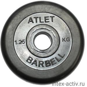 Диск обрезиненный черный Atlet Barbell d-31 1.25 кг