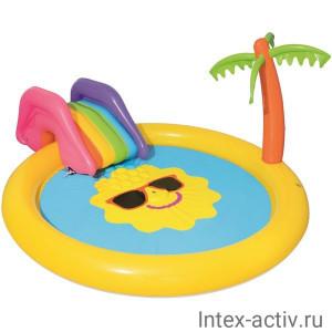 """Игровой центр бассейн с горкой и фонтаном BestWay 53071 """"Остров"""" 2+"""