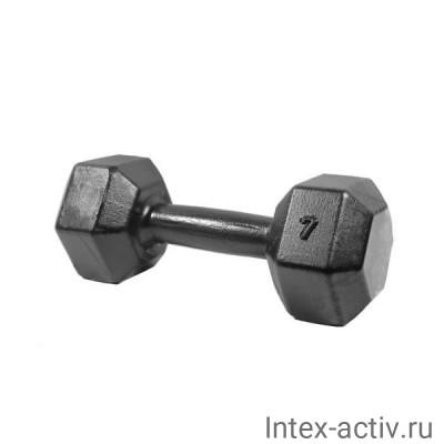 Гантель (1 шт) гексагональная литая Shigir 7 кг