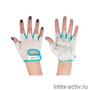 Перчатки для фитнеса STARFIT SU-110 белые/голубые р.XS