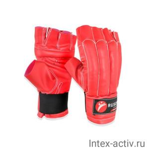 Перчатки снарядные, шингарды Rusco, кожзам, красно-сине-черный р.XL