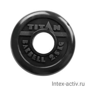 Диск обрезиненный черный Titan Barbell d-51 2,5 кг