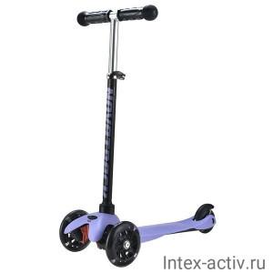 Самокат кикборд 3-х колесный Novatrack Disco-kids черно-фиолетовый