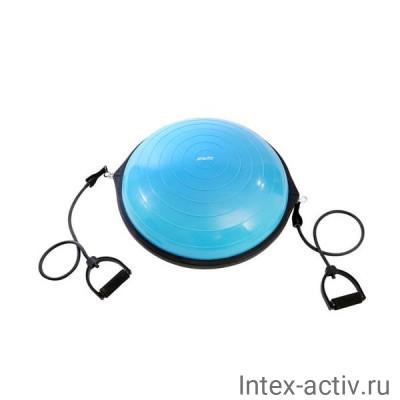 Балансировочная платформа StarFit BOSU GB-502 PRO с эспандерами, с насосом, синий