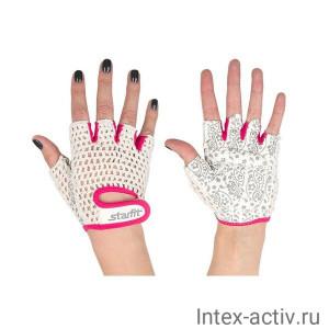 Перчатки для фитнеса STARFIT SU-110 белые/розовые р.XS