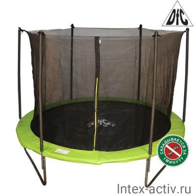 Батут DFC JUMP 10ft (305 см) c сеткой, складной, чехол, apple green