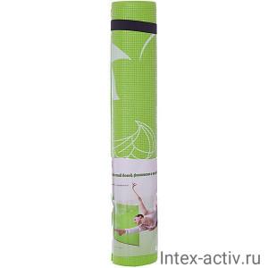 Коврик для йоги и фитнеса YL-Sports BB8302 (173*61*0,4см) с принтом, салатовый