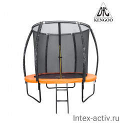 Батут DFC KENGOO II 5ft (152см) внутр.сетка, лестница, оранж/черный