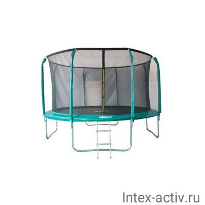 Батут SportElite GB102011 14FT (4,27м) фиберглас с защитной сеткой внутрь и лестницей