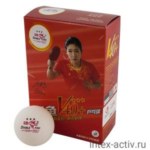 Мяч для настольного тенниса Double Fish 3*** World Cup арт.V111F (6 шт) белый
