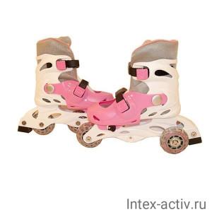 Коньки роликовые Action PW-120-1 (белый/розовый) р.31-34
