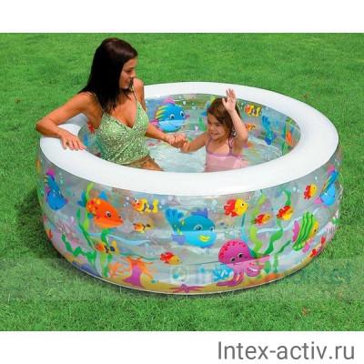 "Бассейн INTEX 58480 ""Аквариум"", надувной пол, 6+"
