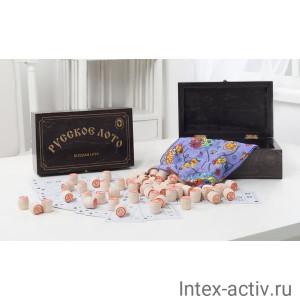 """""""Русское лото"""" в деревянной венге шкатулке, рисунок золото 274-18"""
