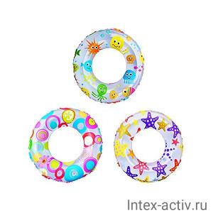 Круг надувной плавательный Intex 59241NP Lively Print Swim Ring 61 см (6-10 лет)