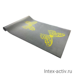 Коврик для йоги и фитнеса YL-Sports BB8305 (173x61x0,4см) с принтом, серый