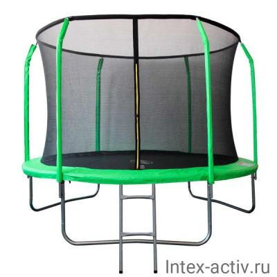 Батут SportElite GB30201 12FT (3,66м) с защитной сеткой внутрь и лестницей, салатовый