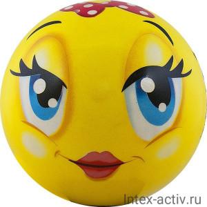 Мяч детский Funny Faces арт.DS-PP 203 12 см, желтый