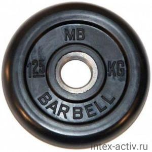 Диск обрезиненный черный MB Barbell d-26 1.25 кг