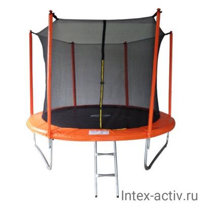 Батут SportElite MZ-10FT-O (3,05м) с защитной сеткой внутрь и лестницей, оранжевый