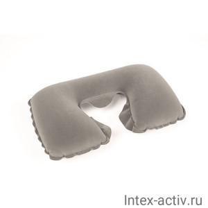 Подушка надувная для шеи флокированная Bestway 67006 (37х24х10) серый