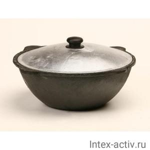 Казан чугунный 6л с крышкой (плоское дно)