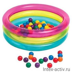 Надувной сухой бассейн с шариками Intex 48674NP (86х25см) 1-3 лет