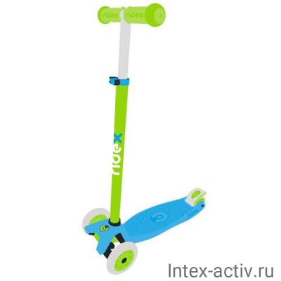 Самокат 3-колесный Ridex Snappy 2.0 3D 120/80 мм, голубой/зеленый