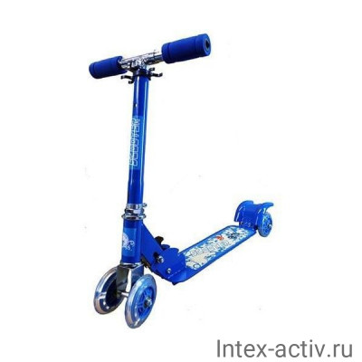 Самокат четырехколесный колеса 98мм PVC голубой CMS010