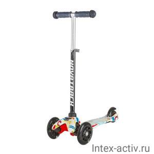 Самокат кикборд 3-х колесный Novatrack Disco-kids до 50 кг мультиколор