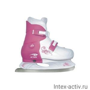 Коньки ледовые раздвижные Action (розовый/белый) PW-219-1 р.29-32